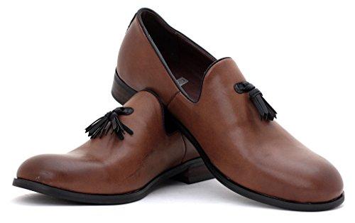 Hombre Vestido Inteligentes Sin Cierres Mocasines Con Borlas Casual Para Trabajo zapatos número GB Café
