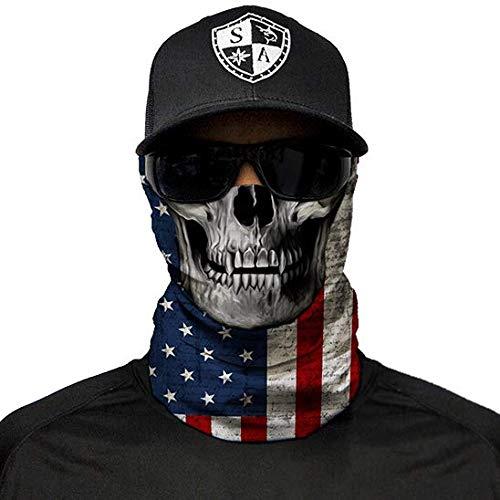 SA Company Face Shield Micro Fiber Wind, Dirt Bugs.Keep Warm On Cool Days. Worn as a Balaclava, Neck Gaiter, Head Band, Doo RAG For Hunting, Fishing Cycling and Salt Lovers. - American Flag Skull