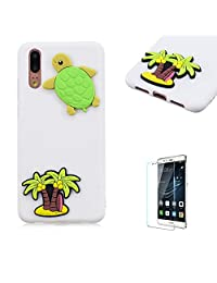 Funyye 3D Silicone Case for Huawei P20 Pro,Stylish Cute Sea Turtle Pattern Soft Gel Flexible TPU Cover for Huawei P20 Pro,Shockproof Non Slip Slim Fit Rubber Durable Shell Bumper Back Protective Case for Huawei P20 Pro + 1 x Free Screen Protector