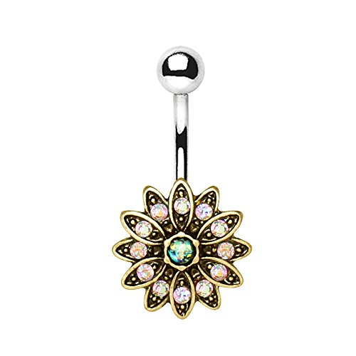 - Pierced Owl Golden Aurora Borealis Crystal Flower with Synthetic Opal Center Belly Button Ring in 316L Stainless Steel