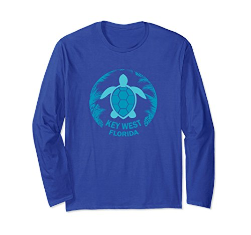 Unisex Key West Florida - Sea Turtle Shell Long Sleeve Shirt Medium Royal - Women West Key