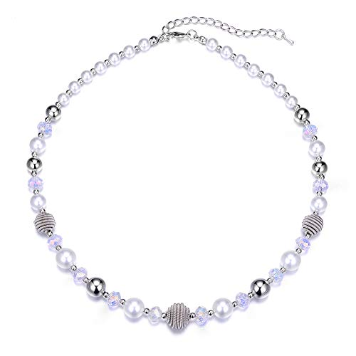 (Bulinlin Beaded Strand Pearl Choker Necklace - Fashion Jewelry Birthday Gifts for Women Girls (41-White) )