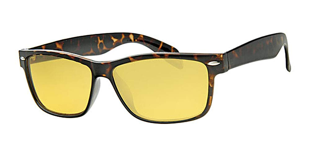 Eyewear World Night Driving Yellow Lens Glasses, Tortoise Brown Frame, Free Drawstring Pouch & Yellow Neckcord, Metal Hinges, Full UV400 Protection