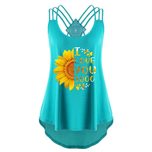 Women's Summer Sleeveless Criss Cross Casual Basic Lace up Blouse Sunflower Letter Pleated Camisole Sexy Tank Tops Mint Green (Gates Willow Landscaping)