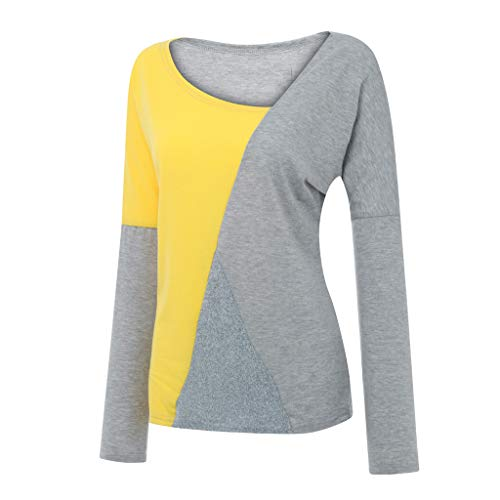 Women Long Sleeve T-Shirt Scoop Neck Basic Layer Spandex Shirt Color Block Round Neck Tunic Top Casual Blouse LIM&Shop