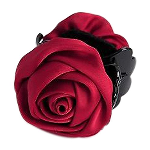 Young & Forever Women's Floral Odyssey Collection Claret Red Resin Rose Jaw Hair Clip Clutcher ()