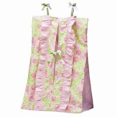 Flower Basket Pink/Green Diaper Stacker (Bacati Flower Basket)