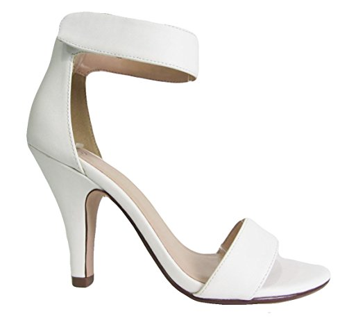 Delicious Ankle White Open Heel Toe Sandal Strap High Pu Rosela ApqA71