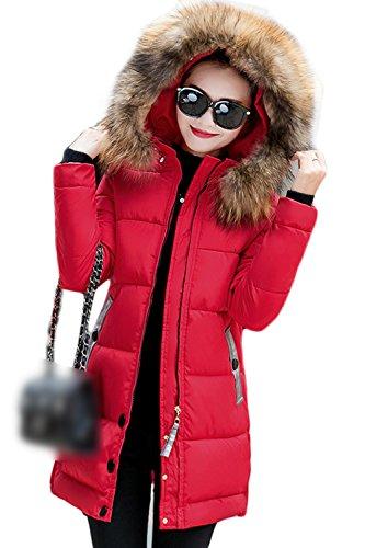 Con Casual Parkas Largo Peluda Outwear Capucha La Acolchado Mujer Invierno El Red E5xw1WnqZ