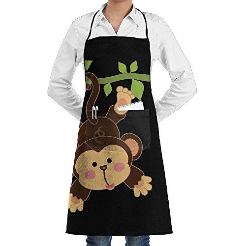 (Cute Aniamle Monkey Hug Men & Women Bib Chef Kitchen Apron With Pockets)