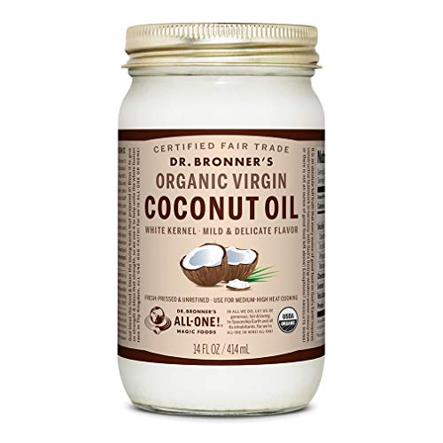 Dr. Bronner's - Organic Virgin Coconut Oil (White Kernel, 14 ounce) - Coconut Oil for Cooking, Baking, Hair & Body, Unrefined & Fresh-Pressed, Mild Flavor, Versatile, Fair Trade, Vegan, Non-GMO