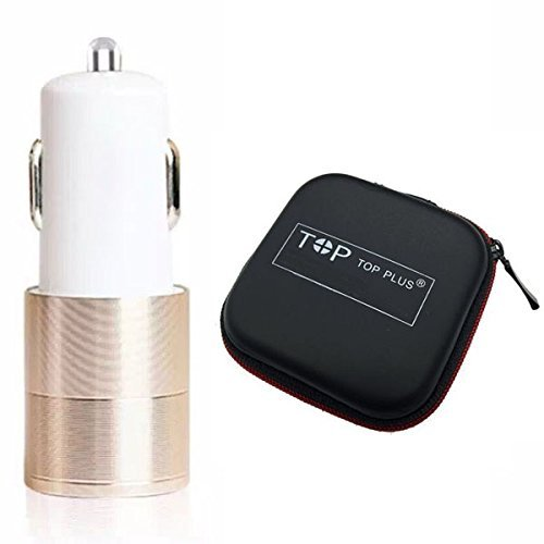 Car Charger,TOP PLUS 2.4A/24W 2 Smart Port Car Charger for iPhone 6S Plus 6 Plus 6 5SE 5S 5 5C 4S, Samsung Galaxy S7 S6 Edge Plus Note 5 4 S5 Tab S, LG G5 G4, HTC,Nexus 5X 6P, iPads Portable