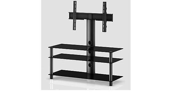 SONOROUS - Mueble TV. Ancho 110 cms, 3 estantes. Vidrio Negro ...