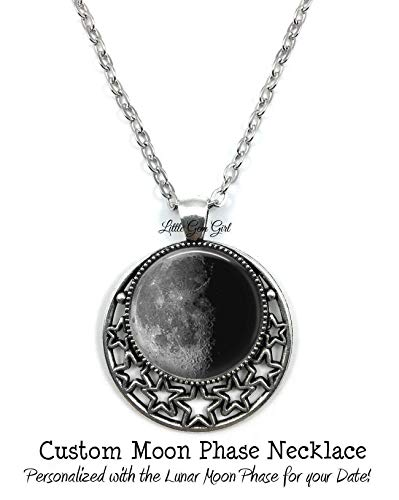 Your Custom Birth Moon Necklace - Personalized Birthday Lunar Phase Silver Stars Pendant Charm