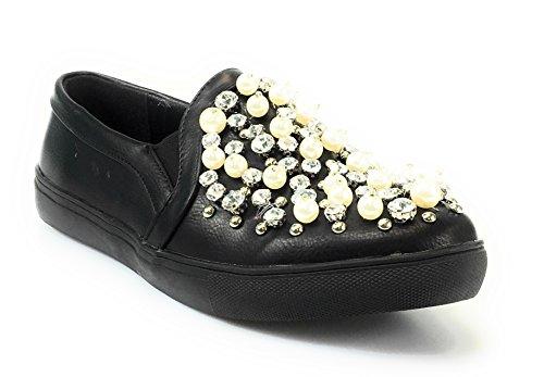 Espadrilles De Perles De Jubilé De Femme De Jubilee Bout Rond Mocassin Chaussure Plate. Noir*