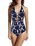 Hilor Women's Lace Up One Piece Swimsuit Halter Bikini High Waisted Swimwear 14 Navy Floral