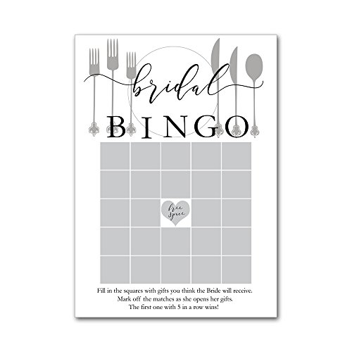 Bingo Game Cards for Bridal Wedding Kitchen Showers with Watercolor Place Setting Silverware Plate BBG8023 by Heads Up Girls