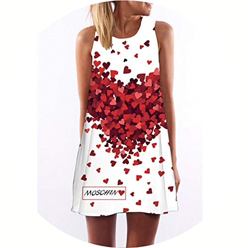 Summer Women Fashion Red Lips Print Cute Party Sleeveless O Neck Casual Chiffon Dresses,Picture color3,L