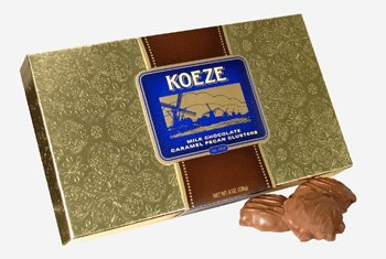 Koeze Handcrafted Milk Chocolate Pecan Turtles - 8 oz. Gift Box - Perfect for holidays, celebrations and foodie gifts! (Koeze Chocolate)