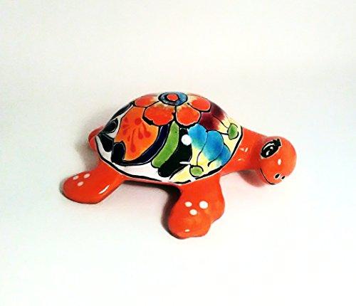 6.5'' Orange Mexican Talavera Pottery Sea Turtles for Indoor and Outdoor Home and Garden Decor by Guanajuato_Gardens