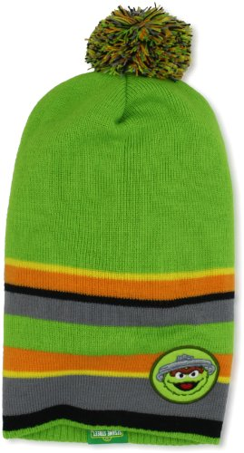 UPF 50+ Coppertone/Sesame Street UV Headwear Little Boys' Oscar Micro Lined Fleece Slouchy Toque With Pom Pom, Oscar Green, Large ()