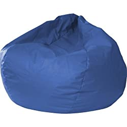 "XXL Leather Look Vinyl Bean Bag, Home Furniture, Children's Furniture, 140"" Circumference, Double Stitched, Child-Safe Zipper, Rest and Relax Furniture, Bean Bag , BONUS e-book (Medium Blue)"