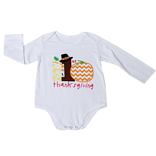 Gotd Newborn Infant Baby Girl Boy Long Sleeve Halloween Romper Jumpsuit Clothes (9 Months, White)