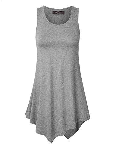 [MBJ WT671 Womens Handkerchief Hem Tank Tunic Top L HEATHER_GRAY] (Bottom Sleeveless)