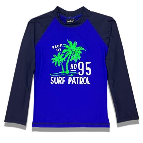PHIBEE Boys' Rash Guard Shirt Long Sleeve UPF 50+ Sun Protection Swimwear Navy 14