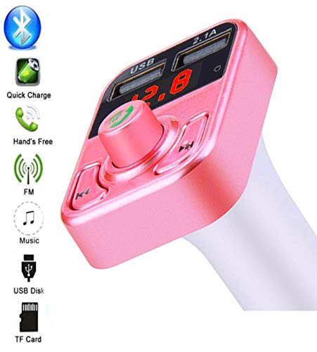 Pelotek; Bluetooth FM Transmitter, FM Modulator for Car | Wireless Radio Car Receiver Kit With Hands-Free Calling, Dual USB Charger 5V/2.1A, Support TF/SD Card, USB Disk Fits for All Smartphones (Pink