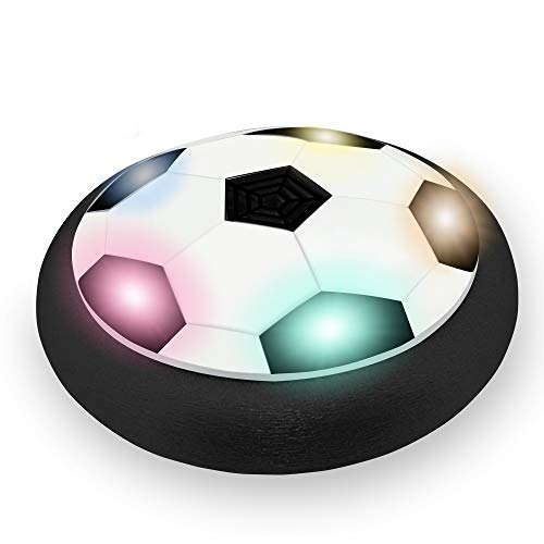 (Kimy Toys for 3-12 Year Old Boys, Colorful LED Lights Air Power Football 3-12 Year Old Boys Gifts Toys Girls Age 3-12 Girls Gifts Age 3-12 Black(No Gates) KMUSFB01)