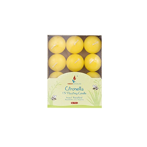 Mega Candles 24 pcs Citronella Floating Disc Candle | Hand Poured Paraffin Wax Candles 1.5
