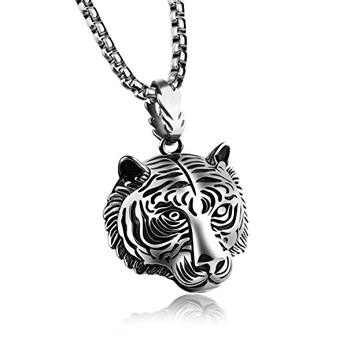 ATDMEI Tiger Head Pendant Necklace for Mens Women Stainless Steel Vintge Gothic Jewelry