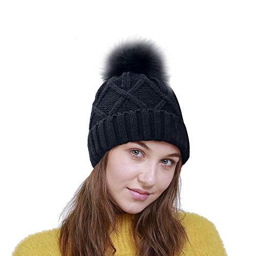 Women Girls Beanie Hat - Thick Soft Knitted Headwear Hats - Warm Stretchy Winter Pom Pom Beanie (Black)