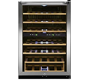 Frigidaire FFWC3822QS Two-Zone Wine Cooler with 38 Bottle Capacity Wooden  Shelves Electronic Temperature Control