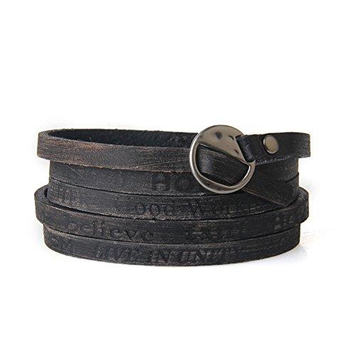 Fancy Bracelet Rope (Jenia Letter Engraved Soft Leather Bracelet Cuff Bangle Rope Multilayer Design)
