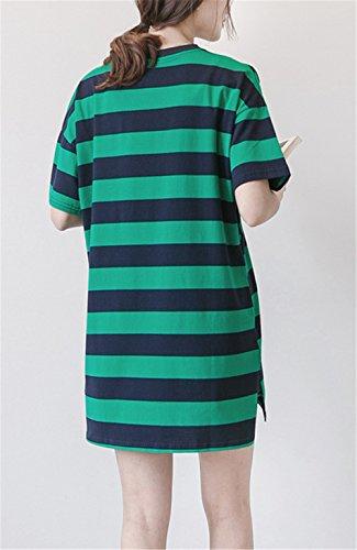 Estive T Donna Camicie Manica ELEKIKIL Top Casual A Comoda Corta Gravidanza L'Allattamento Popolare Righe Shirt Lungo Stampa Green Camicetta Rotondo Collo Maglietta 55UnOx