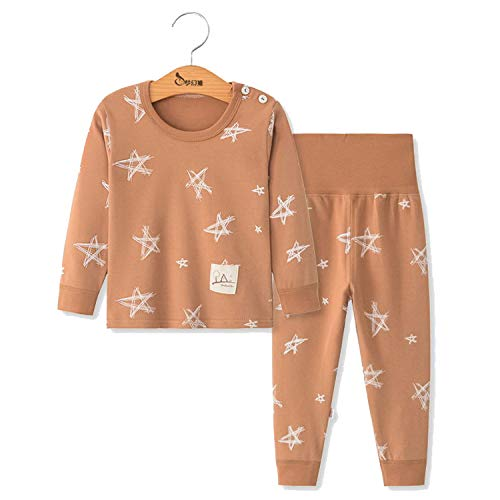 Ribbed Set Piece 2 Pajama - Tulucky Baby Unisex Pajamas,Tee and High Waist Pant 2-Piece Toddler Clothes Set(PentagramBrown,Tag90)