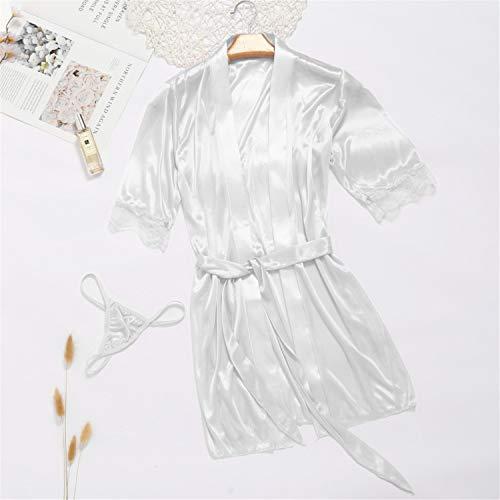 T T Store Bathrobe Women 3/4 Sleeve Bridesmaid Kimono Robes Bath Satin Robe Dressing Sexy Night Robe Peignoir badjas(White,One Size)