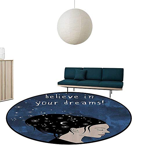 Round Baby Crawling Mats Portrait of Woman with Dark Hair and Mo Stars Dream liever Quote Feminine Child Activity Room Decoration Diameter-47.2