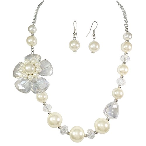 Imitation Pearl Beaded Necklace And Earrings Set (AB Glass Flower)