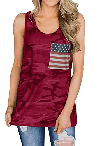 Camo Cami - Fascivonne Womens American Flag Camo Cami Tunic Tank Top with Pocket XL Red