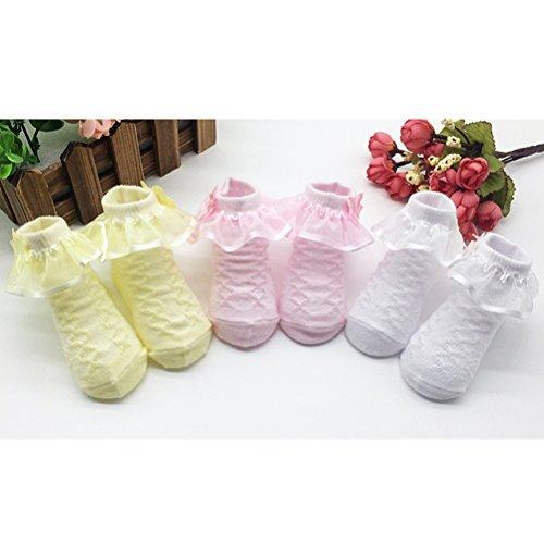 Zhhlinyuan Hot Bebé Girls Comfortable Cotton Rich Frilly Lace Socks Princess Socks Pink