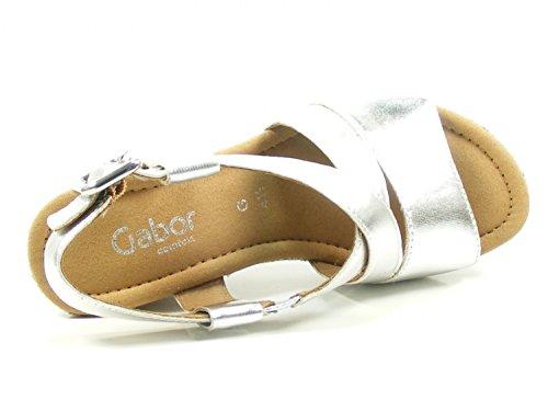 Gabor Comfort 82.820-26 Milano Sandalo / Scarpe Da Donna, Blu, Altezza Del Tacco: 50 Mm Argento