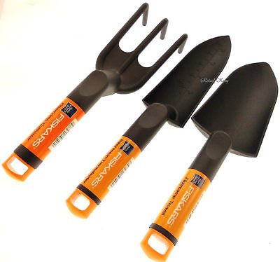 Fiskars Nyglass Garden Tools - 3pcs. - Trowel, Cultivator, Transplanter