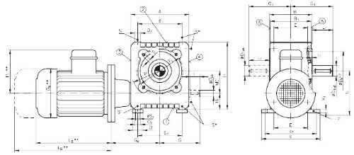 Worm geared motor ZMD/I gearbox size 63 version A output side 5 n2=33.7 rpm 0.55kW 230/400V 50Hz (For operating instructions please visit the download area of our website www.maedler.de)