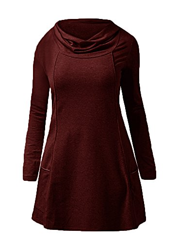 Chuanqi Womens Tunic Tops Long Sleeve Cowl Neck Casual Sweatshirts With Pockets,Claret,X-Large