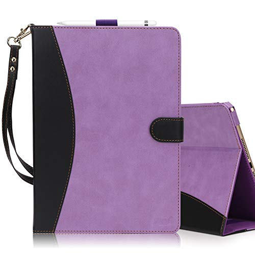 - FYY New iPad 9.7 Inch 2017 Case - Premium PU Leather Case Stand Cover with Card Slots, Note Holder, Hand Strap for iPad 9.7 inch Purple & Black(with Auto Wake/Sleep)