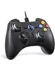 EasySMX Mando para PC, PS3 Gamepad Alámbrico, Joystick con los Botones de Doble-Vibración Turbo y Trigger Compatible con Windows/Android/ PS3/ TV Box