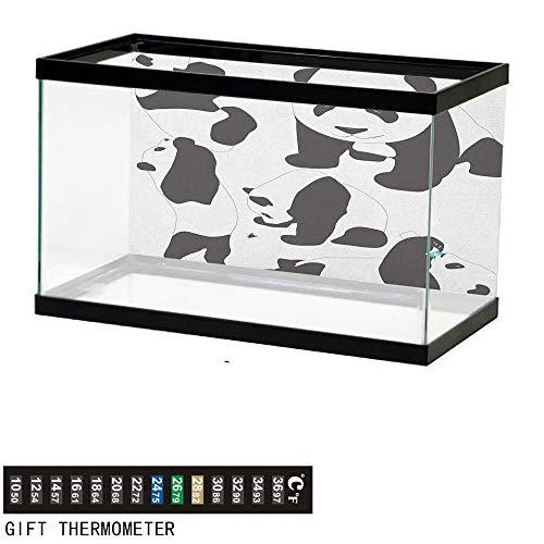 Jinguizi ZooFish Tank BackdropDrawing of Baby Pandas Milk Bottle Fly Adorable Animal Figures Child Mammal48 L X 18